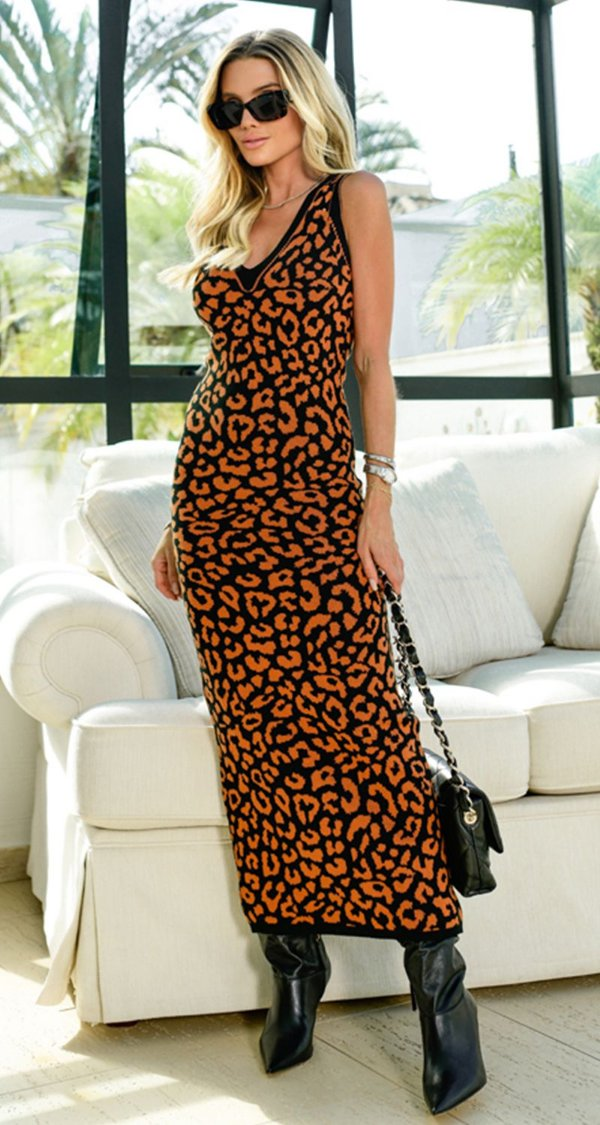 Vestido Tubinho Midi Leopardo Solange | DNA BLESSED