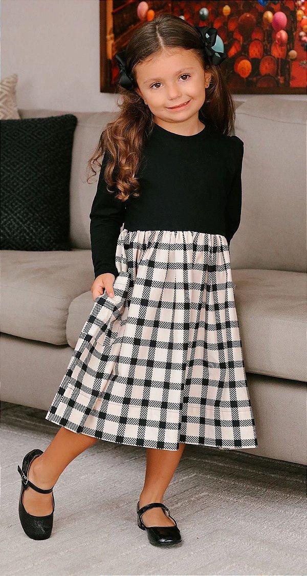 Vestido Blessinha Saia Xadrez Alessandra | DNA BLESSED