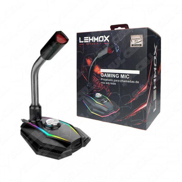 Microfone Gamer Rgb de Mesa p/ Desktop Usb Lehmox (GT-GK3) fs