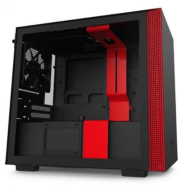 GABINETE MINI-ITX - H210I MATTE BLACK/RED - COM CONTROLADORA DE FANS + FITA DE LED - CA-H210I-BR-O