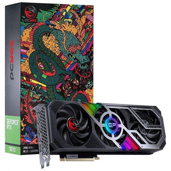 Placa De Vídeo Nvidia Geforce Rtx 3070 8gb Gddr6 256 Bits Triple-Fan Graffiti Gaming Pro Series