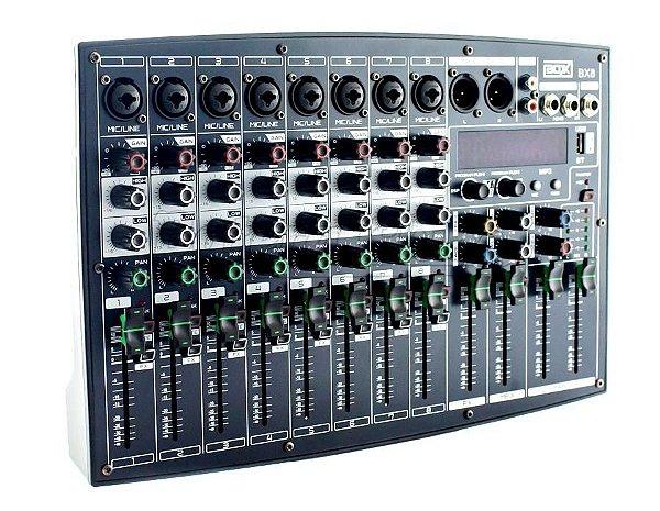 Mesa de Som 8 Canais Boxx AD8-UX c/ Interface para Lives, Vídeos para Facebook, Youtube