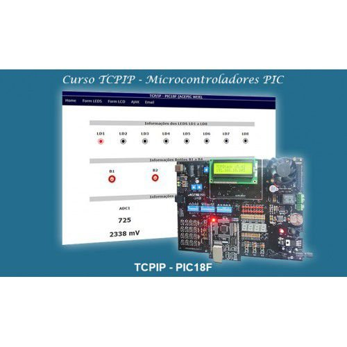 Curso TCP/IP (PIC18F) + Kit ACEPIC PRO V5.0 + Módulo WEB + Gravador ACE USB Mini