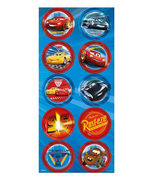 Adesivos Redondo - Carros 3 - 03 cartelas
