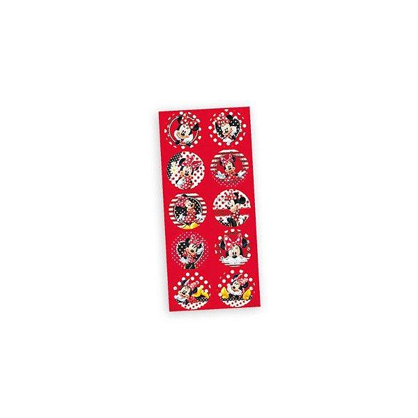 Adesivo Redondo Decorativo - Minnie Vermelha - 03 cartelas