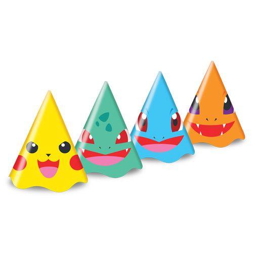 Chapéu de Aniversário - Pocket Monsters-  08 unidades