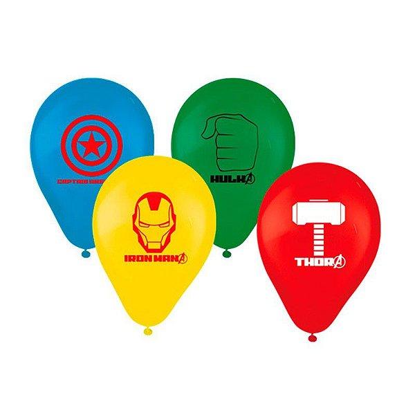 Balão Látex 9 polegadas - Os Vingadores - 25 unidades
