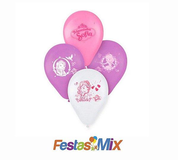 Balão Látex N° 9 Polegadas Princesinha Sofia