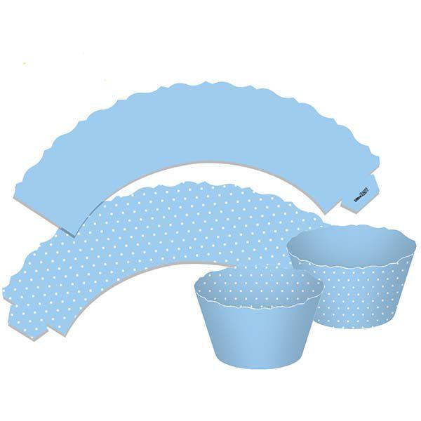 Saia para Cupcake  Dupla Face - Azul - 12 unidades