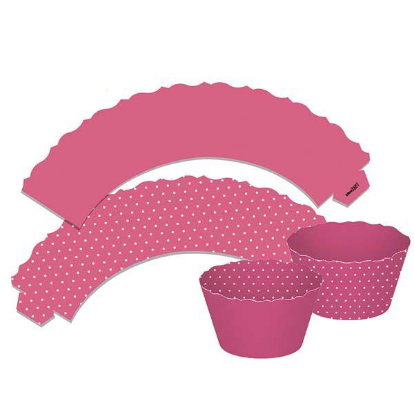 Saia para Cupcake  Dupla Face - Rosa - 12 unidades