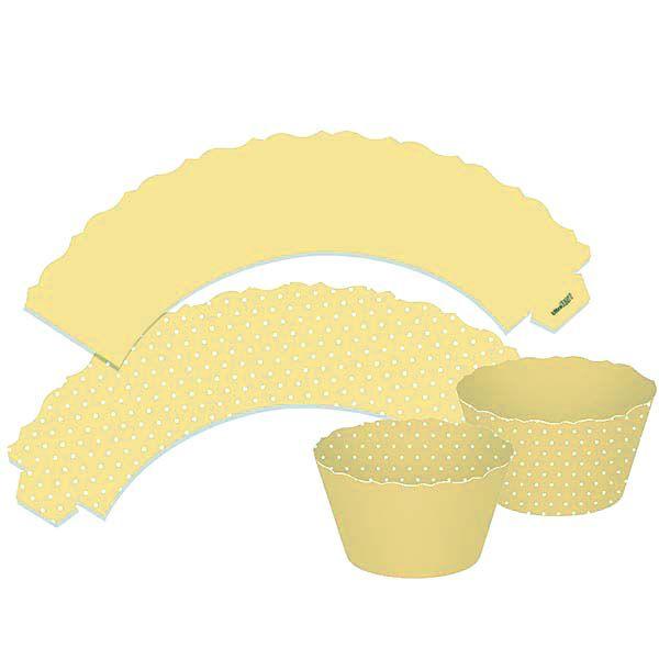 Saia para Cupcake Dupla Face - Amarelo Claro - 12 unidades