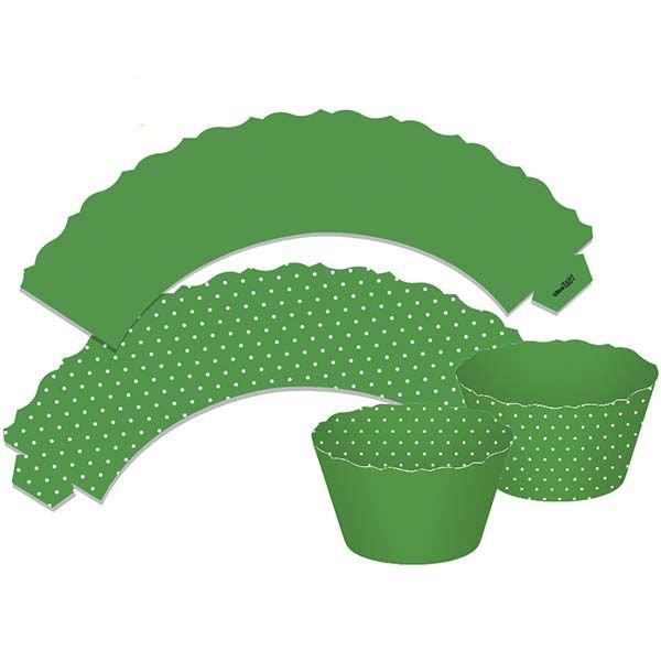 Saia para Cupcake  Dupla Face - Verde - 12 unidades