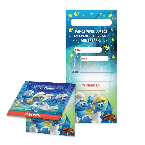 Convite de Aniversário - Smurfs - 08 unidades