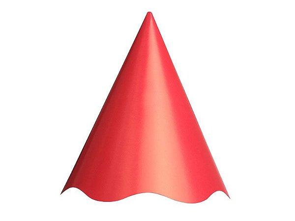 Chapéu de Aniversário Liso Vermelho - 08 unidades