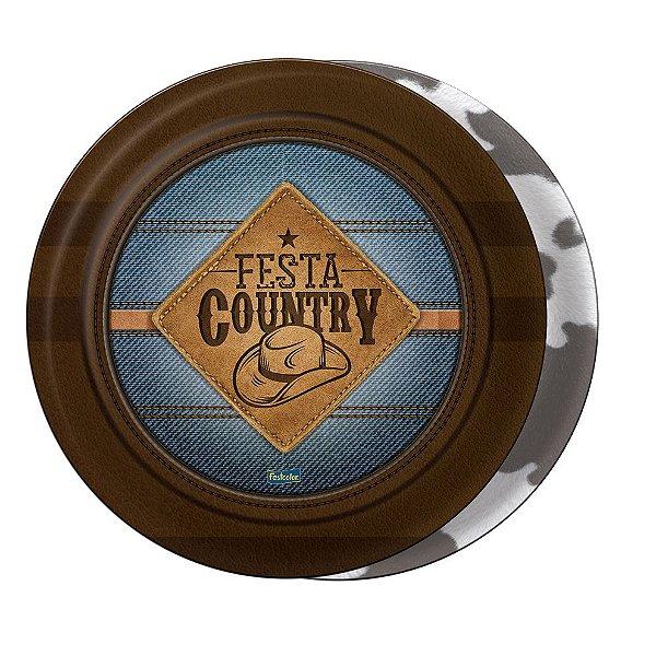 Prato de papel 18 cm- Festa Country  - 08 unidades