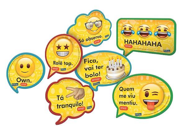 Kit Plaquinhas Decorativas - Emojis - 09 unidades