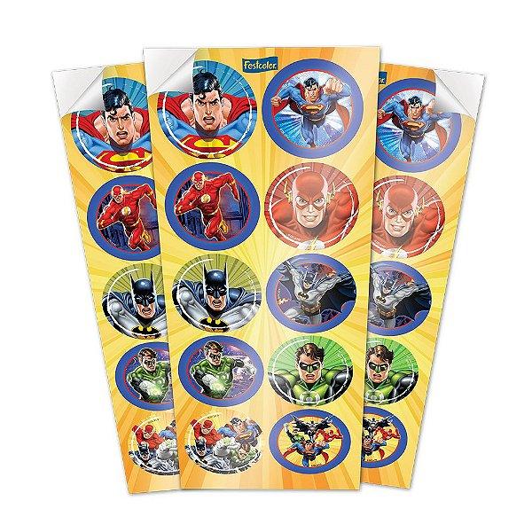 Adesivo Redondo Decorativo - Liga da Justiça - 30 unidades