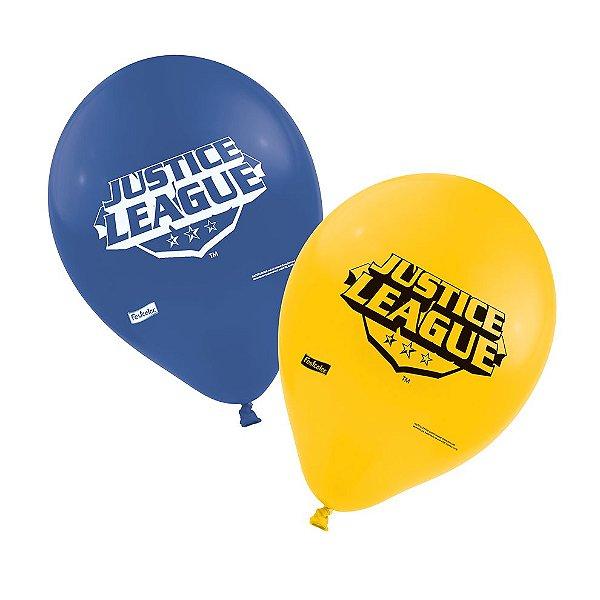 Balão Látex 9 Polegadas - Liga da Justiça - 25 Unidades