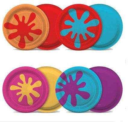 Prato de papel 18cm - Festa das Cores - 08 unidades