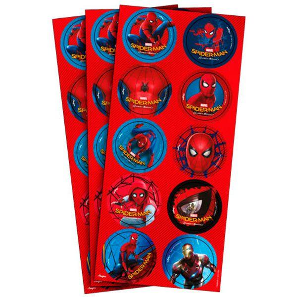 Adesivo Redondo - Homem Aranha Home - 30 unidades