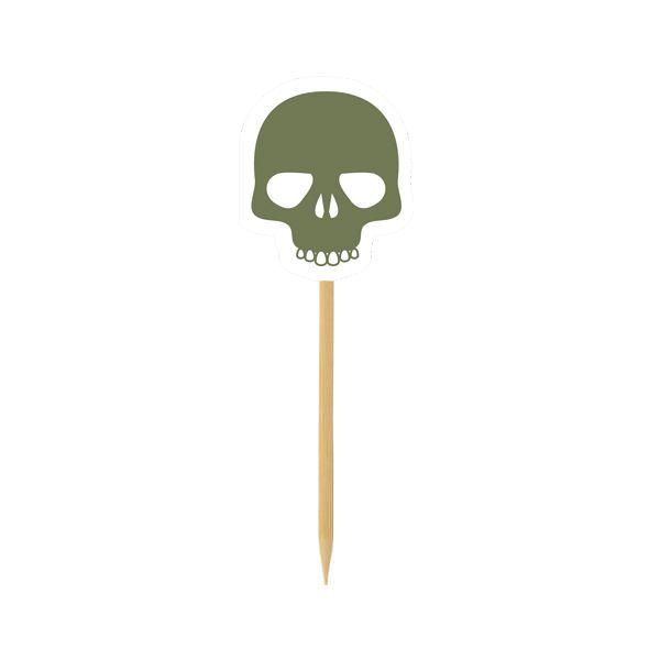 Pick para doces e Cupcake - Caveira Militar - 10 und