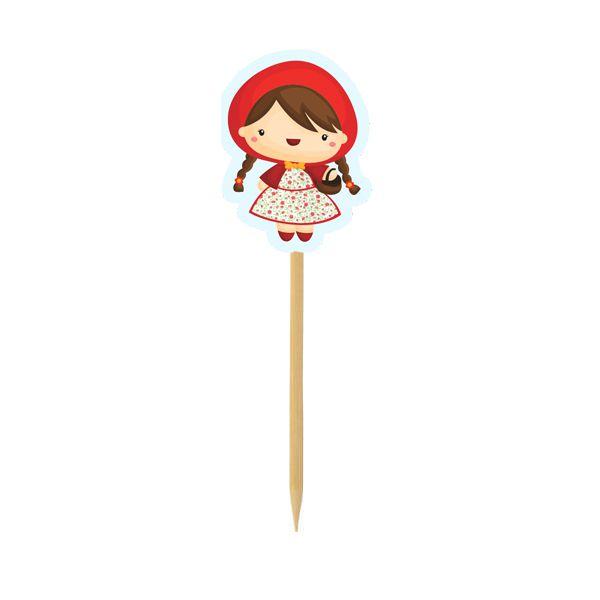 Pick para doces e Cupcake - Chapeuzinho Vermelho- 10 und