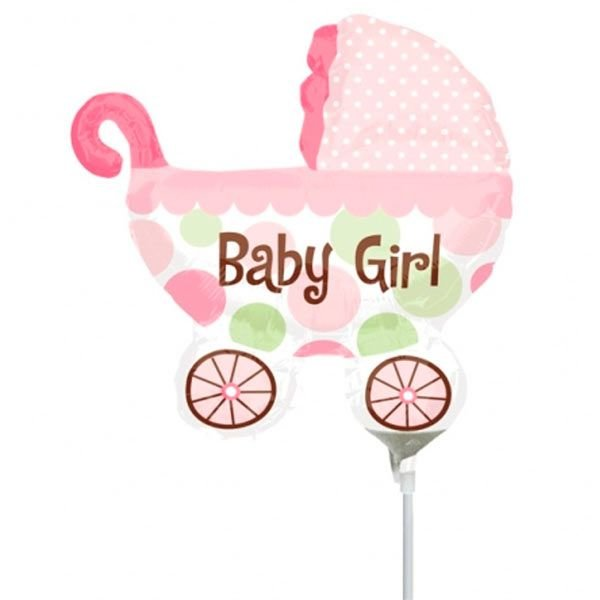 Balão Mini Shape Carrinho de Bebê Rosa - unidade