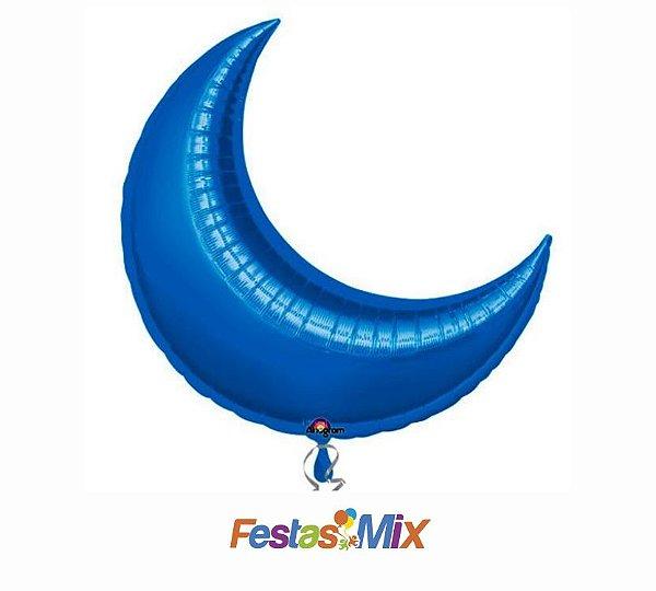 Balão Metalizado Super Shape Lua Azul