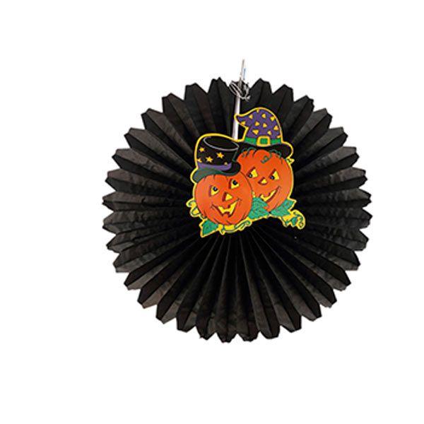 Leque de Papel Halloween - Abóbora- 45 cm