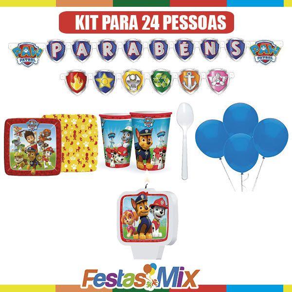 Kit Festa Infantil Slin - Patrulha Canina - 24 pessoas