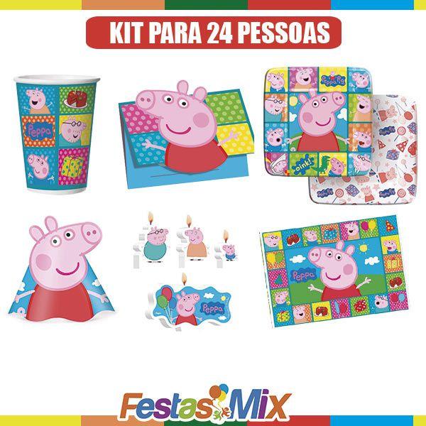 Kit Festa infantil - Peppa Pig - 24 pessoas