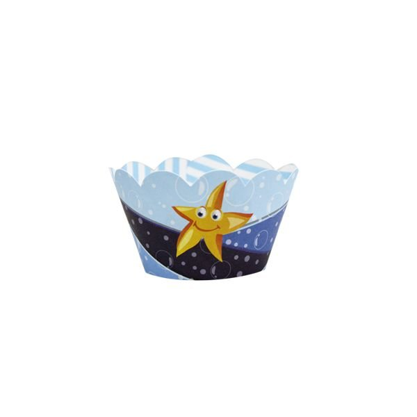 Saia de Cupcake Wrapper - Fundo do Mar  - 12 unidades
