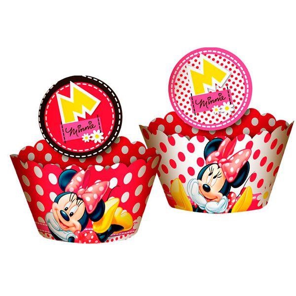 Saia de Cupcake Wrapper - Minnie Vermelha - 12 unidades