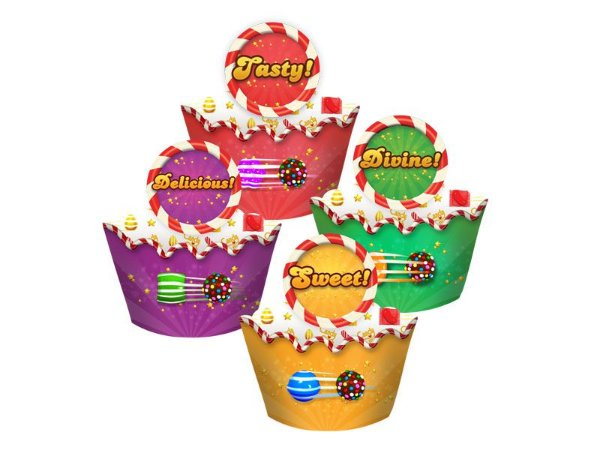 Cupcake Wrapper Candy Crush- 12 unidades