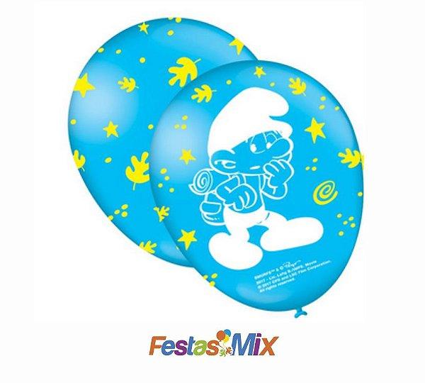 Balão Latex 9 polegadas - Os Smurfs - 25 unidades