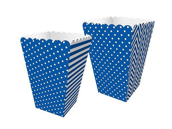 Mini Caixa de Pipoca - Festa Colors Azul - 08 unidades