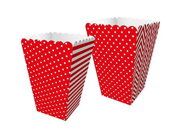 Mini Caixa de Pipoca - Festa Colors Vermelho - 08 unidades