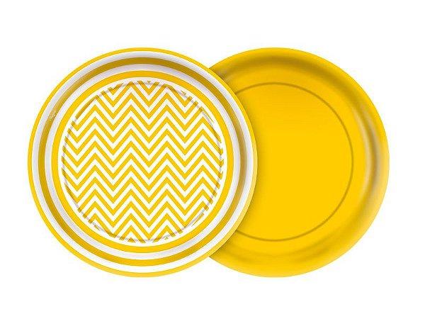 Prato de Papel- Festa Colors -Chevron Amarelo - 08 unidades