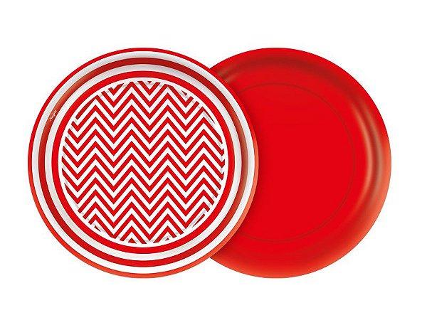 Prato de Papel- Festa Colors -Chevron Vermelho- 08 unidades