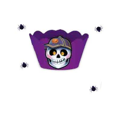 Cupcake Wrapper com Enfeite Halloween - Roxo - 08 unidades