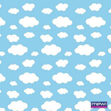 TNT Estampado - Nuvem Branca - Azul - 01 Metro