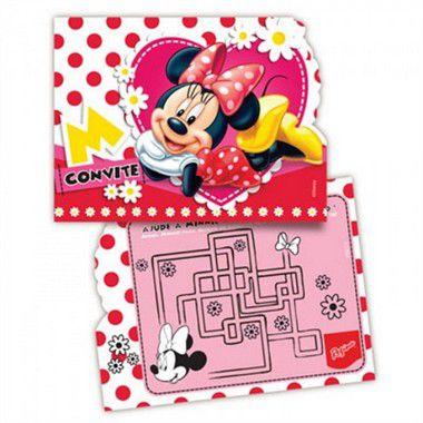 Convite - Minnie Vermelha - 08 unidades