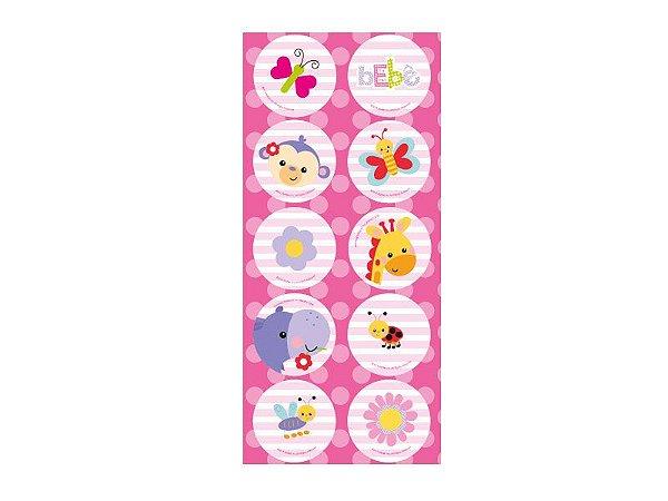 Adesivo Redondo-Fisher Price Chá de Bebê Menina-3 cartelas