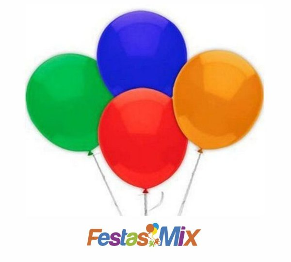 Balão Látex Nº 9 - Cores Sortidas - 50 unidades