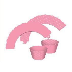Saia para Cupcake  Dupla Face - Rosa Claro - 12 unidades