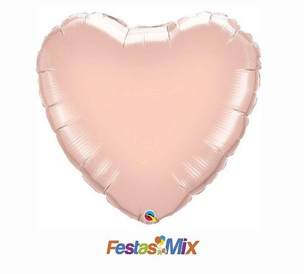 Balão Metalizado - Coração Rose Gold - 18 polegadas