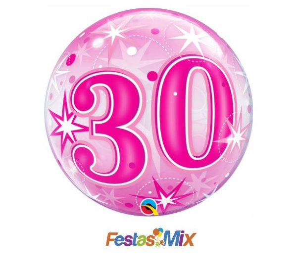 Balão Bubble - 30 Rosa - 22 polegadas