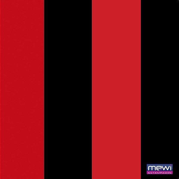 TNT Estampado - Listras Preta e Vermelha - 01 Metro