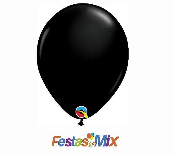 Balão Látex 11 Polegadas - Preto Ônix - 05 unidades