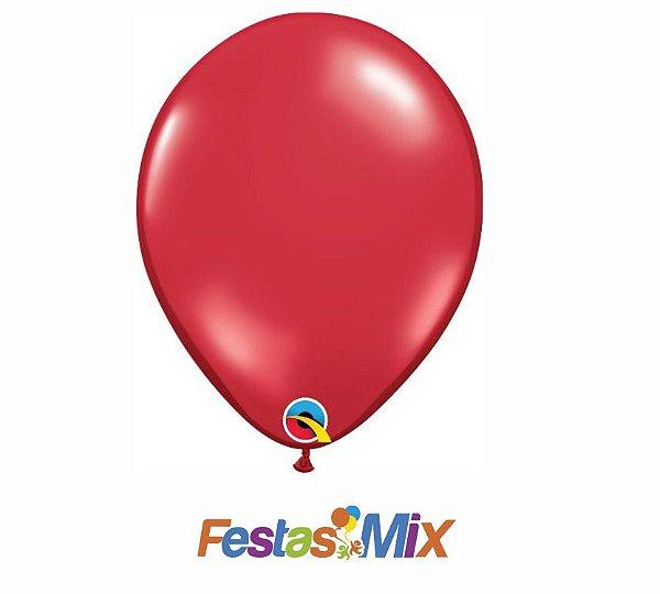 Balão Látex 11 Polegadas - Vermelho Rubi - 05 unidades